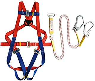 Sooiy Fall Protection Harness, Full-Body Harness Climbing Men and Women Adjustable Protective Equipment (Safety Rope Total Length 2m / 3m) for The Construction, Aerial