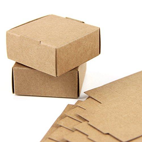 SUNBEAUTY Cajas Kraft marrón de la regalos, Cajas de Papel Kraft Marrón Cartón, Caja de Cartón Pequeño, 5.5 * 5.5 * 2.5cm (50 piezas)
