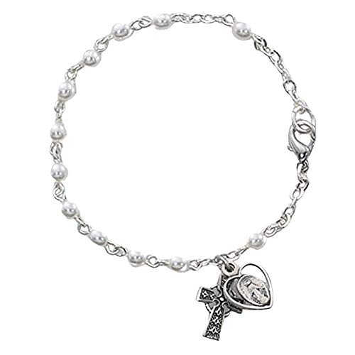 McVan White Prayer Bead Rosary Bracelet with Celtic Cross and Chalice Charm, 6 1/2 Inch