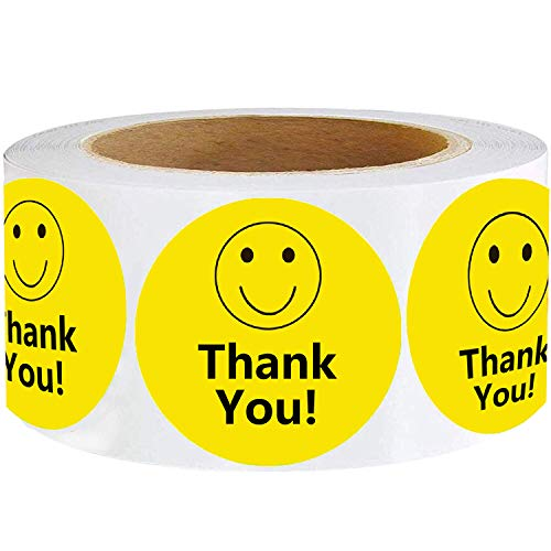 """Smile Thank You Stickers,Yellow Smiley Face Thank You Stickers 2"""",Happy Face Mailing Labels 500 Round Circle Adhesive Stickers"""
