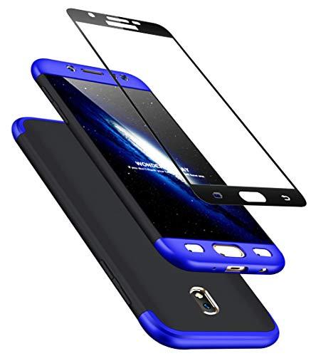Beschermhoes Samsung S7 Edge 360 graden bescherming mat Ultra Slim Cover PC Hard Case Bescherming van het lichaam 360 ° Volledige Cover 3 in 1 zwart, Samsung J3 2017, Blauw + zwart.