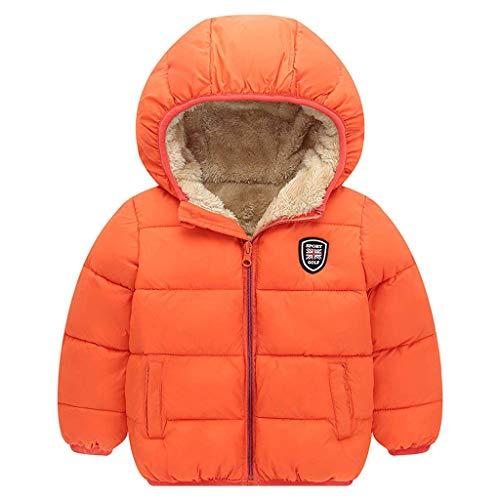 HDUFGJ Jungen Mädchen Wintermantel Warme Dicke Fleecejacke Outwear Stepp-Jacke mit Kapuze110(Orange)