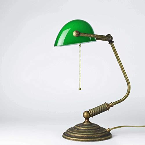 Tischlampe Antik Bronze Glas Grün Echt-Messing Zugschalter Vintage Art Déco Bankerlampe Beistelltisch Schreibtisch