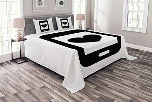 ABAKUHAUS Ruf Mama Tagesdecke Set, Smartphone Entwurf, Set mit Kissenbezügen farbfester Digitaldruck, für Doppelbetten 220 x 220 cm, Charcoal Grau und Weiß