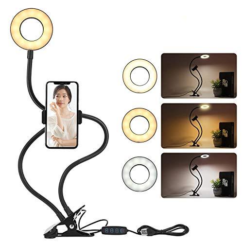 LEDリングライト フレキシブル クリップ式 10階段調光 三色調整可能 スマホホルダー360度回転 撮影リングライト 自撮り 生放送 化粧 ポートレート撮影 YouTubeビデオ撮影用 TIKTOK ブロガー ネイル美容室 光補充ライト