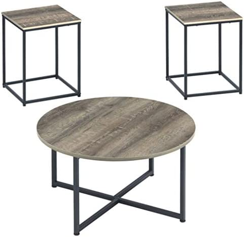 Best Signature Design by Ashley - Wadeworth Distressed Occasional Table Set of 3, Brown/Black Wood