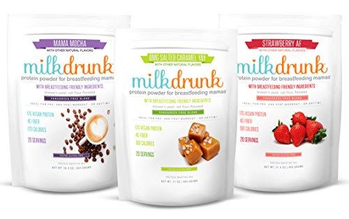 3 Bag Fenugreek-Free Variety Pack - Milk Drunk Dairy Free Protein Powder for Breastfeeding - 60 Servings Vegan Protein, Lactation-Boosting - Oat Flour, Flax, Brewer's Yeast - Gluten Free