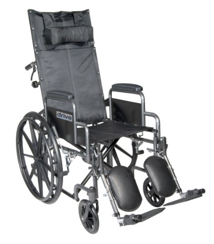Drive Medical SSP20RBDDA Silver Sport Reclining Wheelchair with Detachable Desk Length Arms and Elevating Leg Rest, Silver Vein, 20 Inch