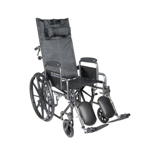 Drive Medical Silver Sport Reclining Wheelchair with Detachable Desk Length Arms and Elevating Legrest, Silver Vein, 18″