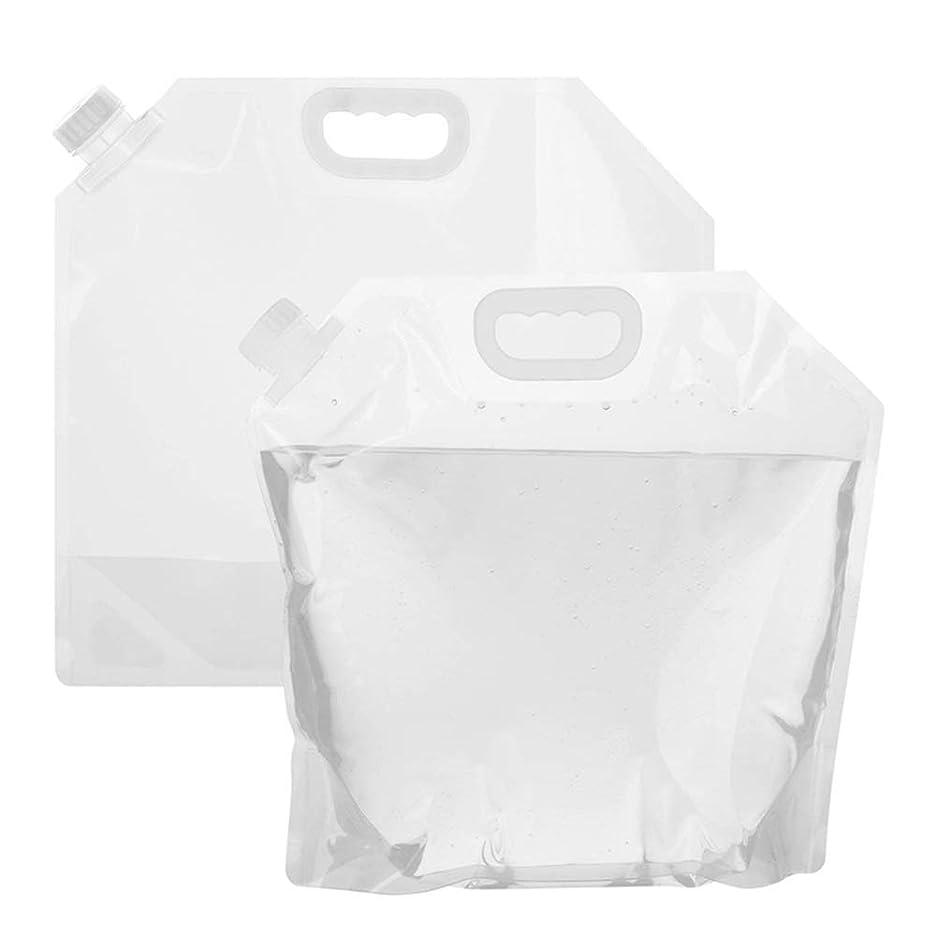 ボトル三平方ウォーターバッグ 防災グッズ アウトドア 折りたたみ式 持ち運び便利 繰り返し使用も可能 非常用給水袋 大容量 2枚入 size 5L (透明な色)