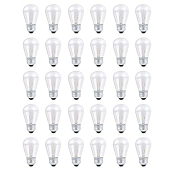 30 Pack S14 Outdoor String Light Bulbs Set 120V 11W Clear Outdoor Patio Vintage Light Shatterproof Bulbs