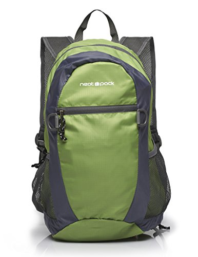 NeatPack Durable, Foldable Nylon Backpack / Daypack with Security Zippers, 20L, Green