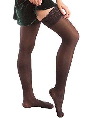 ITA-MED Sheer Compression 23-30 mmHg Thigh High Stockings Varicose Vein Nurse Hose Socks for Women, H-80 X-Large Black