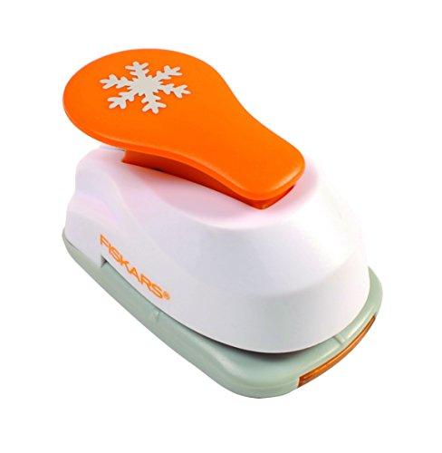 Fiskars Perforadora de figuras, Copo de nieve, Ø 1,9 cm, Para diestros y zurdos, Acero de calidad/Plástico, Blanco/Naranja, Lever Punch, S, 1004642