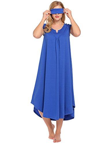 ekouaer sleepwear cotton v neck pajamas cap sleeve long nightgowns for women Royal Blue