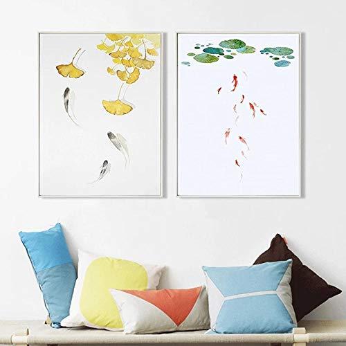N / A Pintura de Tinta China Lotus Silver Letter Leaf La Carpa Ornamental Fish Pond Canvas Poster Imagen de Arte de Pared para Estudio de Sala de Estar Sin Marco-A_50X70cmX2