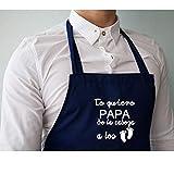 Didart Handmade Delantal cocina personalizado hombre mujer con la frase:'Te quiero PAPA de la cabeza a los pies'. Varios colores a elegir. Hecho en España. Regalo original para hombre
