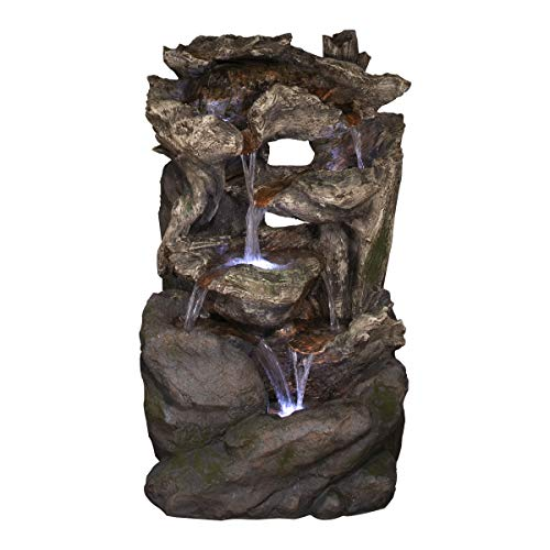 """Alpine Corporation 40"""" Tall Outdoor 6-Tier Rainforest Wood and Rock Waterfall Fountain with LED Lights"""