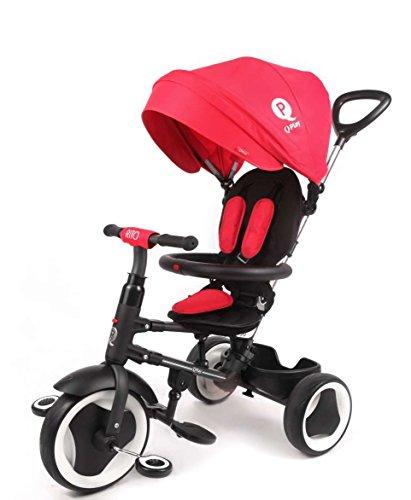 QPLAY Triciclo Evolutivo Plegable Rito - Rojo - Niños de 10 hasta 36 Meses - Peso soportable hasta 25 Kg