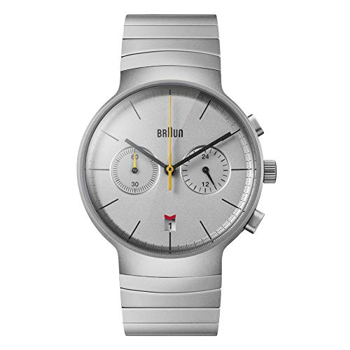 Braun Mens Chronograph with Date Analogue Quartz Watch, Silver Dial and Stainless Steel Bracelet, 40mm Stainless Steel Case, Model BN0265SLBTG.