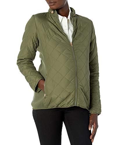 Motherhood Maternity Women's Maternity Thin Puffer Coat with Diamond Quilting, Olive, Small