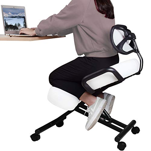 DRAGONN (by VIVO) Ergonomic Kneeling Chair with Back Support, Adjustable Stool for Home and Office with Angled Seat for Better Posture - Thick Comfortable Cushions, White (DN-CH-K02W)