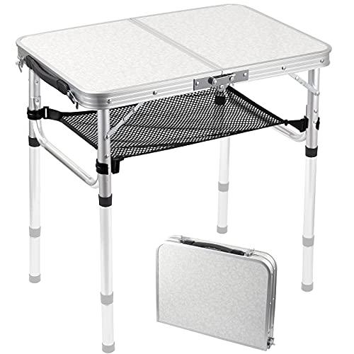 Mesa Plegable Camping, Anbte Mesa de Campamento Plegable Portátil 61x41x25.4/48/60 Ajustable Altura Aluminio...