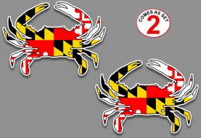Maryland Flag Blue Crab Decal Sticker 5' x 7' Set of 2 for car Truck SUV Window Glass