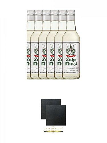 Lütje Minze Pfefferminzlikör 6 x 0,7 Liter + Schiefer Glasuntersetzer eckig ca. 9,5 cm Ø 2 Stück
