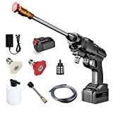 QAZX Battery Powered Pressure Washer Gun,Cordless Pressure Washer with Different Spray Nozzle and 5M Hose Hydro Jet High Pressure Power Washer For For Washing Cars/Fences/Siding