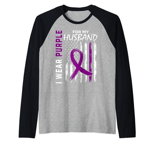 I Wear Purple For Husband Epilepsia Awareness Bandera Americana Camiseta Manga Raglan
