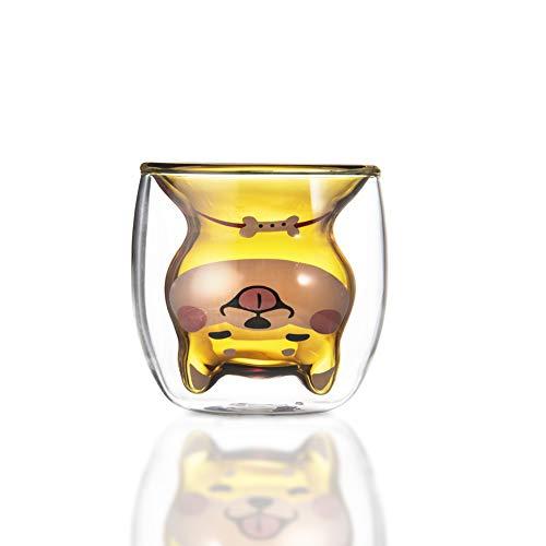 JSBVM Vasos de Cristal de Doble Pared para Leche (Vidrio borosilicato), Diseño Shiba Inu, Regalos Originales y Divertidos para Amantes de Las Mascotas,Amarillo