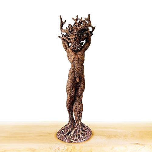 Dryad Ornament Cernunnos Statue Green Man Tree Face Sculpture Tree-Shaped Male and Female Resin Dryad Statue for Garden Home Decoration Ornament Gift (Man)