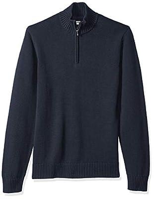 Amazon Brand - Goodthreads Men's Soft Cotton Quarter Zip Sweater, Solid Navy, X-Large by Goodthreads