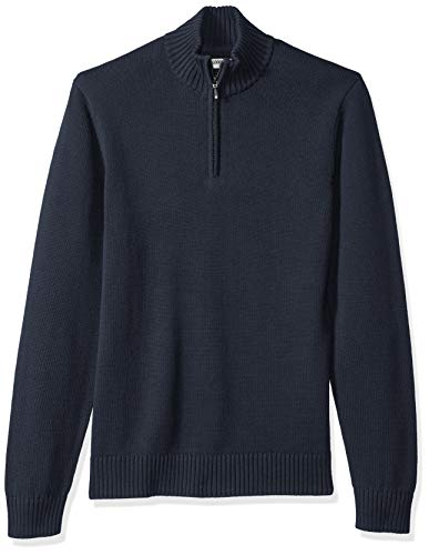 Amazon Brand - Goodthreads Men's Soft Cotton Quarter Zip Sweater, Solid Navy, Large