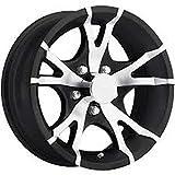 New 13 Inch 5 on 4.5 Black and Machined Aluminum Trailer Wheel Rim T07-35545BM