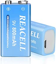 REACELL 9V Lithium ion Rechargeable Batteries, USB 1.5H Quick Charge 800mAh High Capacity Long Lasting Li-ion Rechargeable 9V Battery for Smoke Detectors (2 Pack)