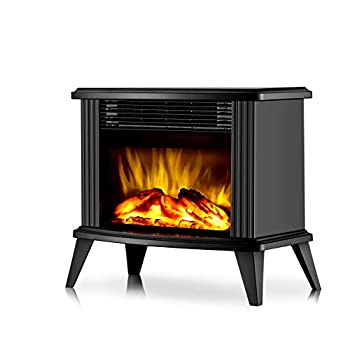 DONYER POWER 13  Height Mini Electric Fireplace Tabletop Portable Heater 1500W Black Metal Frame,Room Heater,Space Heater