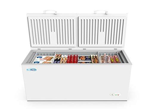KoolMore Deep Chest Freezer with Two Wire Basket, 20 cu. ft. Extra Large Food and Meat Storage, for Commercial and Home Use with ETL Certification, White