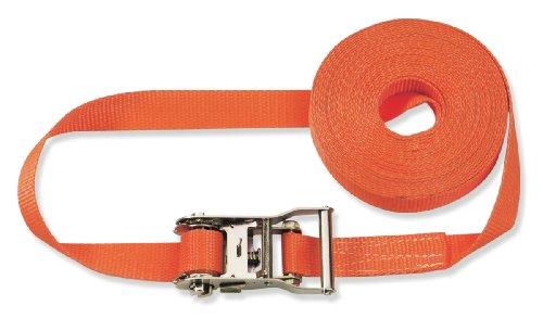Braun Spanngurt 2000 daN, einteilig, für Profis und Privattransporte, nach DIN EN 12195-2, Farbe Orange, 6 M Länge, 35 mm Bandbreite, mit Ratsche