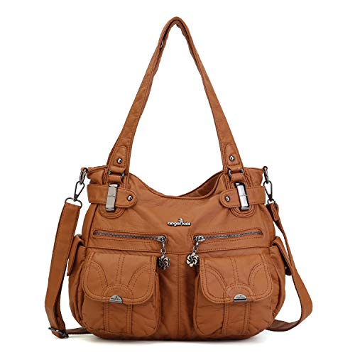 Angelkiss Women's Designer Handbag Large Double Zipper Multi Pocket Washed, Brown