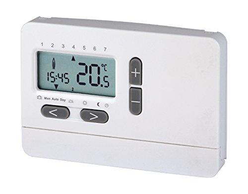 Sanitop-Wingenroth 2-Draht-Uhrenthermostat Digital | Universell einsetzbar | Raum-Temperaturregelung | LCD-Display | Heizung | Thermostat | Raumregler | Klassisch weiß | 27115 8