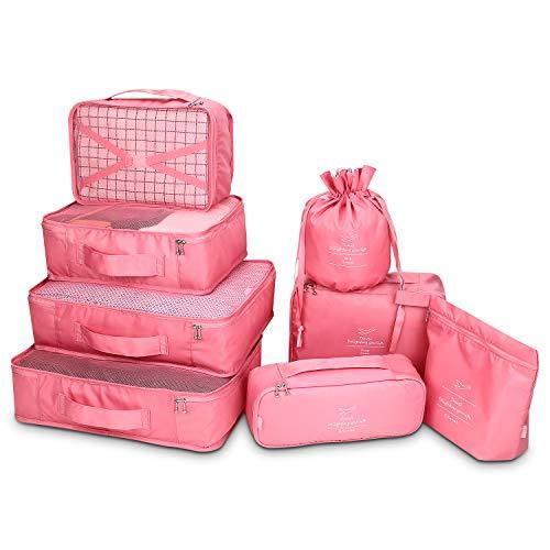 Koffer Organizer Reise Kleidertaschen 8 Sets/7 Farben Travel Gep?ck Organisatoren enthalten wasserdichte Schuh-Aufbewahrungsbeutel Bequeme...