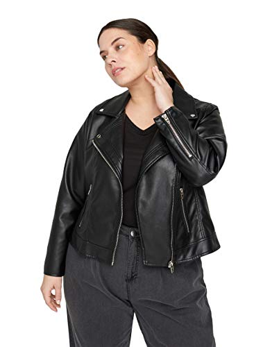 Zizzi Große Größen Damen Kunstlederjacke mit Reißverschluss Gr 42-60