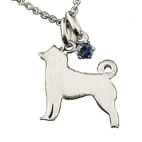 [アトラス] Atrus ネックレス メンズ sv925 スターリングシルバー ブルーサファイア ペンダント 犬 柴犬 9月誕生石 シルバーチェーン 青い宝石