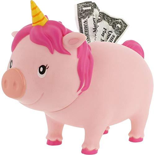 LILALU Spardose BIGGYS Einhorn pink, Sparschwein Kopf drehbar Sparbox Sparbüchse Münzeinwurf Piggy Bank Tresor Kinder