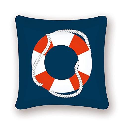 Zodiark Funda de cojín de 45 x 45 cm, diseño de anillo salvavidas, color rojo y blanco con fondo azul marino, diseño de océano náutico
