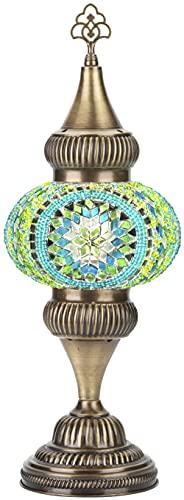 DEMMEX - Pantalla de lámpara de mesa alta de cristal con mosaico colorido hecho a mano con base de latón antiguo, 45,7 x 16,5 cm...