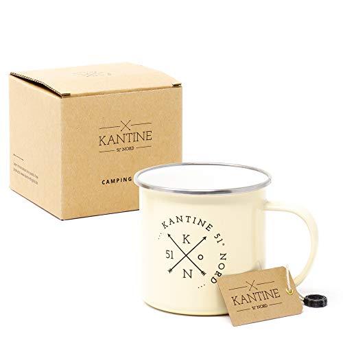 Kantine 51° Nord ® Camping Tasse | Bruchsichere 350ml Emaille Kaffeetasse mit Edelstahl Rand