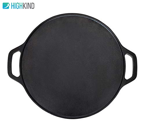 Highkind Cast Iron Dosa Tawa 12 inches, Pre-Seasoned, Perfect for Cooking on Gas, Induction and Electric Cooktops